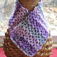 Neckwarmer Purple, Grey, and White