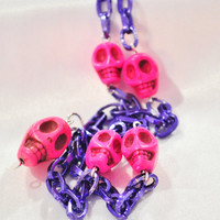 Chunky purple chain with hot pinkhowlite turquoise skulls
