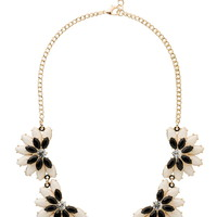black and cream crystal flower necklace