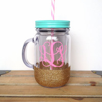 Acrylic Mason Jar Tumbler - Personalized Monogram Tumbler - Mason Jar Tumbler - Bachelorette Party Glass, Bridesmaids Gift, Wedding Glass