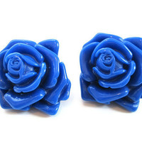 Blue rose earrings oversized large bright royal blue by molldee