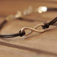 karma bracelet,retro infinite pendant bracelet,brown leather bracelet---B060