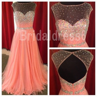 Beads Sequins Sheer Crew Strapless A-Line Long Cocktail Celebrity dress ,Floor length Tulle Evening Party Prom Homecoming Dress