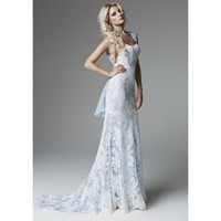 Lace Sweep Train Wedding Dress with Capped Sleeves