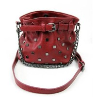 Buckle Rivets Chain Strap Shoulder Crossbody Bucket Bag Handbag