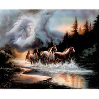Horse Run in Lake w/ Indian Spirit Art Print Poster