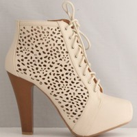 Qupid Puffin-67 Beige High Heel Boot Nubuck Lace up Platform Bootie - Perforated High Heel Beige Bootie