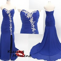 Stunning Hot sale Blue Mermaid Chiffon Prom dress, Discount Formal Evening dress, Blue prom dress, beautiful beading zipper back dress 9058