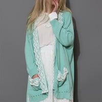 Lace Trimmed Knitted Oversize Cardigan
