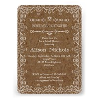 Brown cork & flourish frame wedding bridal shower