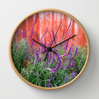 Purple Blooms Wall Clock by Rosie Brown