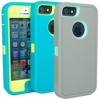 Pack of 2 Huaxia Datacom Body Armor Heavy Duty Dirtproof Shockproof Hybrid Defender Impact Case for iPhone 5 5G - wholesale 2pcs