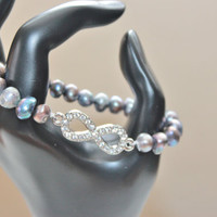 Pastel Pearl and Rhinestone Infinity Stretch Bracelet