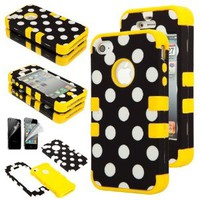 Black Polka Dot Dual Hybrid Hard Soft Dual Layer Plastic Silicone Case for Apple iPhone 4 4G 4S w/ Screen Protector (Yellow)