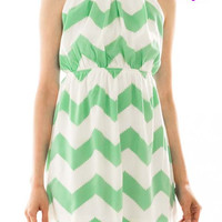 Chevron Self-Tie Dress Mint