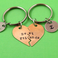 Best Friends Hand Stamped Broken Heart With Initials Keychain Set- In Brass, Copper, or Aluminum