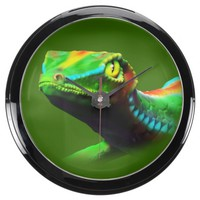 Gecko Lizard Rainbow Colors Aqua_Clock