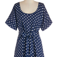 Long Short Sleeves Cover-up Medium Format Memory Tunic in Navy Dots