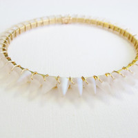 Icicle stackable bangle, gold bangle, frosted white bangle, frosted clear, spike bangle, spike bracelet, white spike