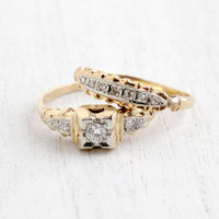 Antique 14k Yellow & White Gold Diamond Engagement Ring and Wedding Band Set - Vintage Art Deco 1940s Decorative Matching Jewelry