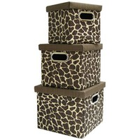 Giraffe Print Square Storage Boxes with Lids | Shop Hobby Lobby