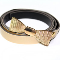 Belt with Gold Buckle Shaped in Bow Tie for Tunics, Dresses and Waist Skirts
