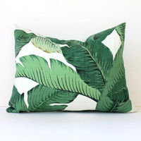 "Modern Tropical Green Designer Pillow Cover 12"" x 16"" lumbar Accent Cushion aloe emerald Resort leaves summer banana"