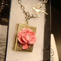 Pink and White Rose with Flying Bird Vintage Style Book locket Necklace (1668)