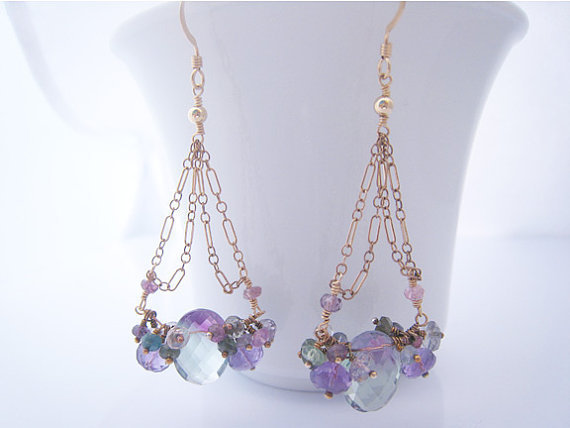 Wedding Day Earrings Fluorite Tourmaline by SiennaGraceJewelry