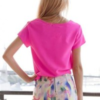 Pastel Grapefruit and Pineapple Shorts with Asymmetrical Hem