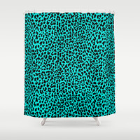 Neon Turquoise Leopard Shower Curtain by M Studio