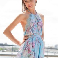 Blue Floral Playsuit with Halter Neck and Lace Cutout