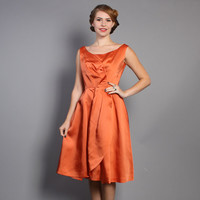 60s Cocktail DRESS / ORANGE Matte Satin Party Dress, xs - s