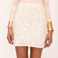 Zara White Sequined Mini Skirt- Found on Bib + Tuck