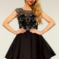 Lilly Beaded Black Full Skirted Party Cocktail Dress