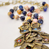 Owl pendant on natural stone bead necklace and round brass link chain