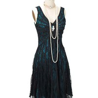 Black Lace Teal Blue Satin 20s Inspired Gatsby Dress