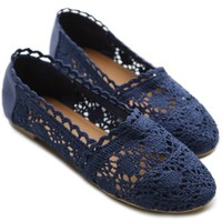 Ollio Women's Lace Ballet Shoe Floral Slip-on Low Heel Flat