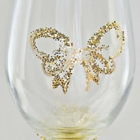 The 14k Golden Bow Glitter Wine Glass.