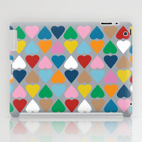 Diamond Hearts on Grey iPad Case by Project M