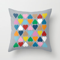Diamond Hearts on Grey Throw Pillow by Project M