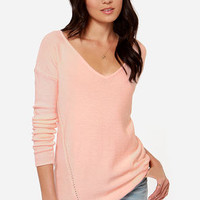Ready or Knit Peach Sweater