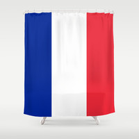 The National Flag of France - Authentic Version Shower Curtain by LonestarDesigns2020 - Flags Designs +