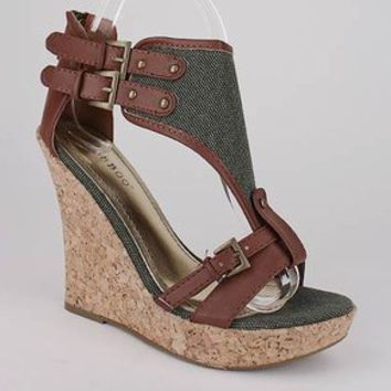 canvas shield open toe wedge $23.50 in BEIGE BLACK OLIVE - New Shoes | GoJane.com