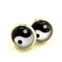 Yin-yang stud earrings, black white post earrings, small round studs, gift for teen girl , decoupage earrings, modern symbolic earrings
