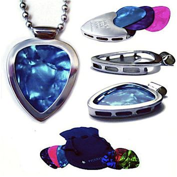 Guitar Pick Holder Pendant Necklace PickBay Stainless Steel & 6 Bright Jewel-tone Picks