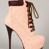 Jennifer-5 Crochet Lace Up Platform Bootie