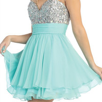 Stunning Soiree Party Dress in Aqua