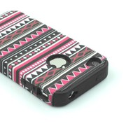 Hoocate Tribal Tribe 2-Pieces Dual Layer Hybrid Shield Hard Shell & Black Silicone Skin Case for Apple iPhone 4 4s