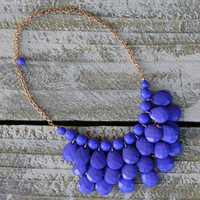 Darlington Purple Beaded Teardrop Statement Necklace